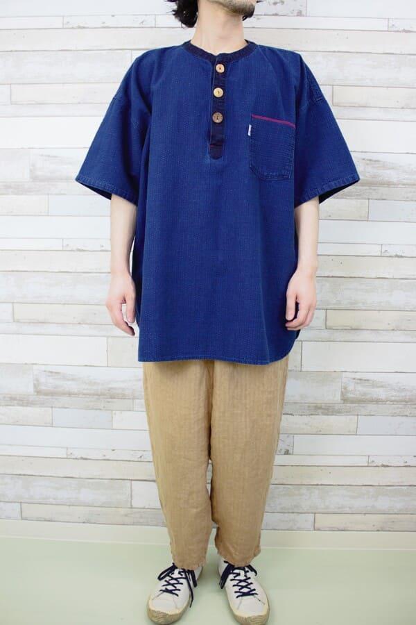 インディゴ刺子プルオーバーシャツ