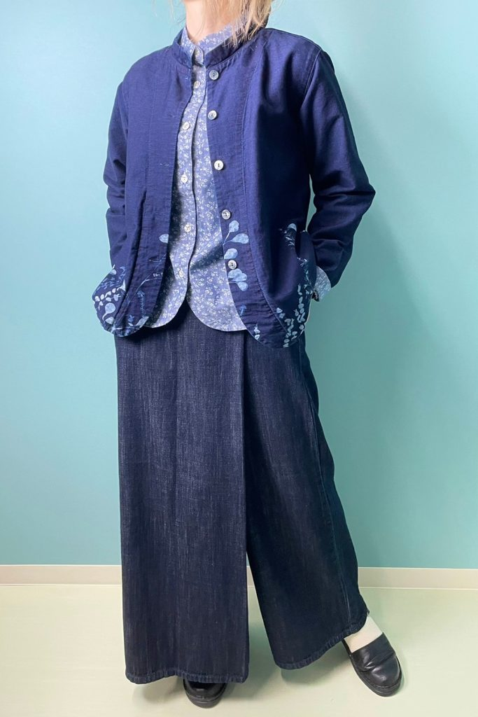 【BlueTrick】スタンドジャケット 花抜染